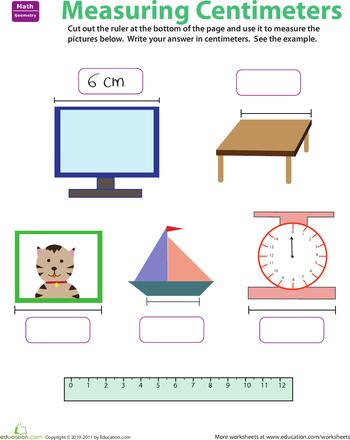 Worksheets: Ruler Reading: Centimeters