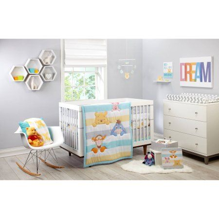 Disney Pooh Together Forever 4 Piece Crib Bedding Set Gray