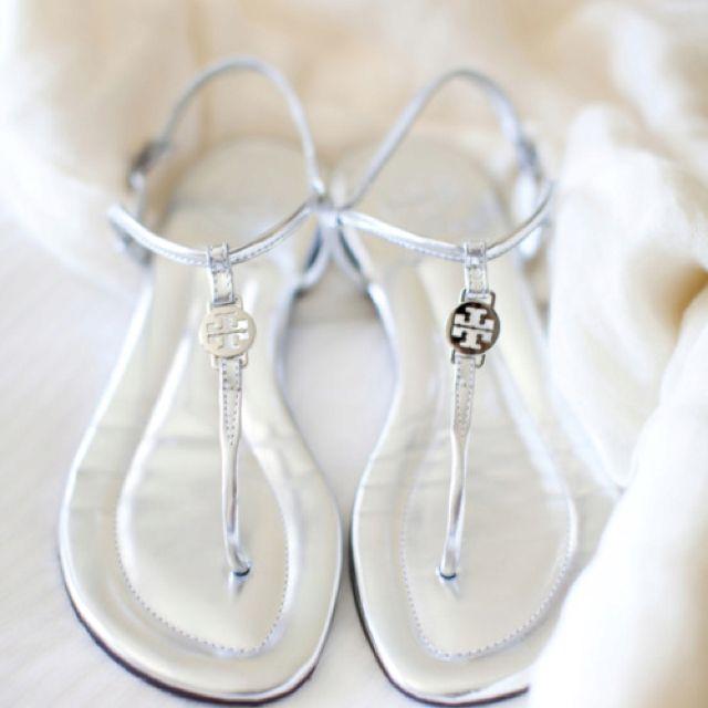 Silver Sandals Tory Burch