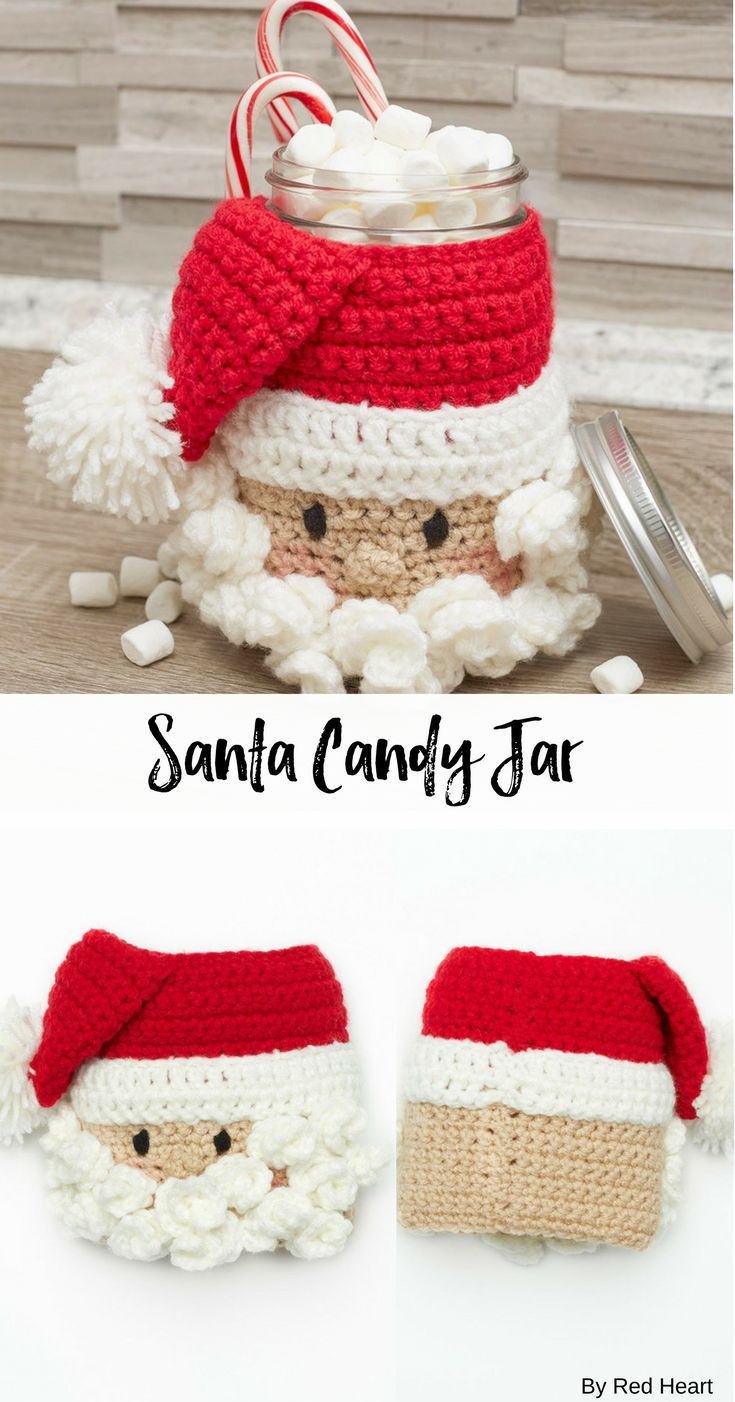 Santa Candy Jar free crochet pattern in Super Saver. | Christmas ...