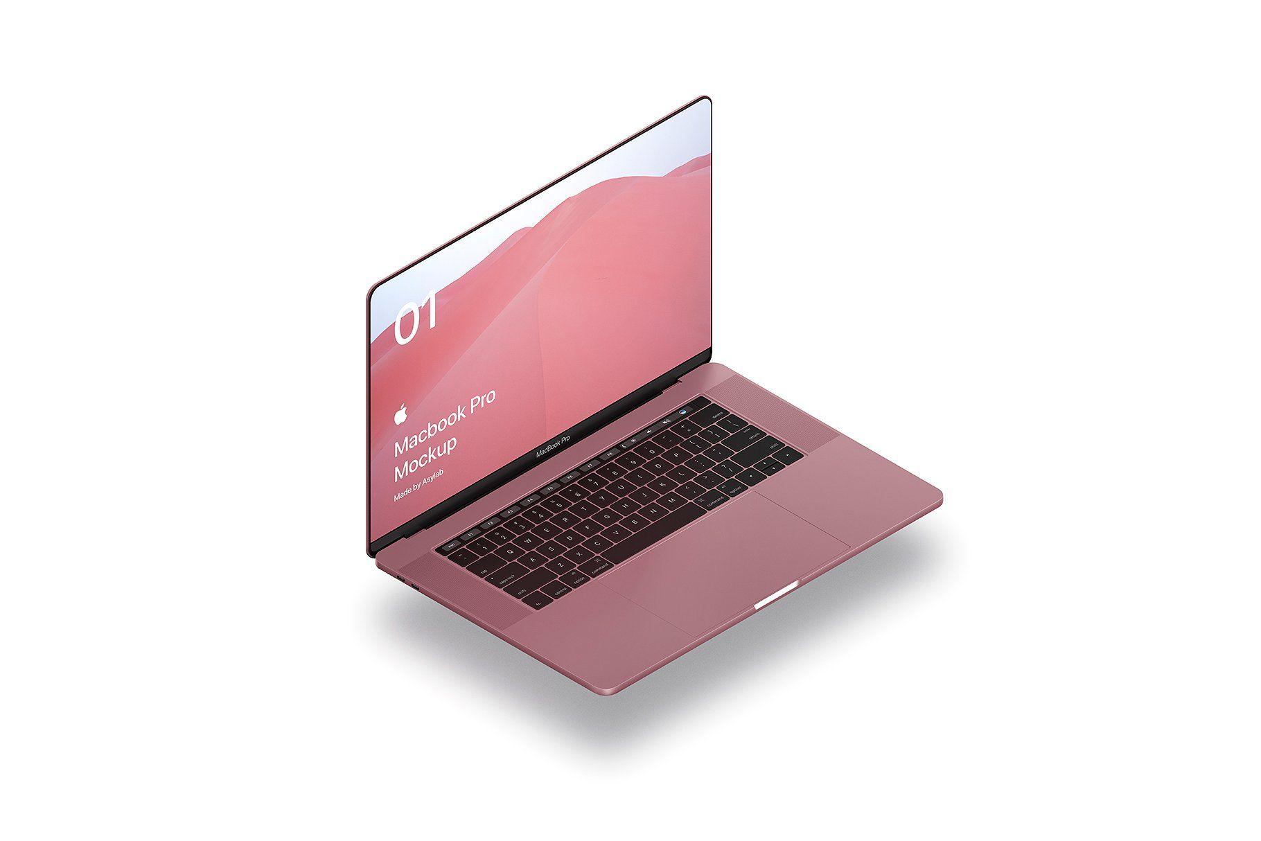 Macbook Pro 10 Isometric Mockups #screen#TouchBar#Squared#Screens