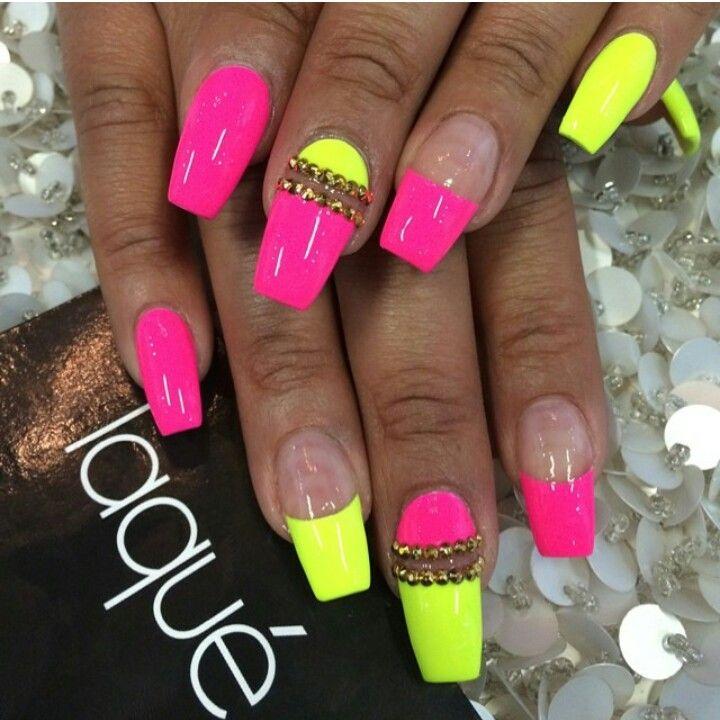 Pink & Yellow nails | N A I L S | Pinterest | Yellow nails, Nail ...