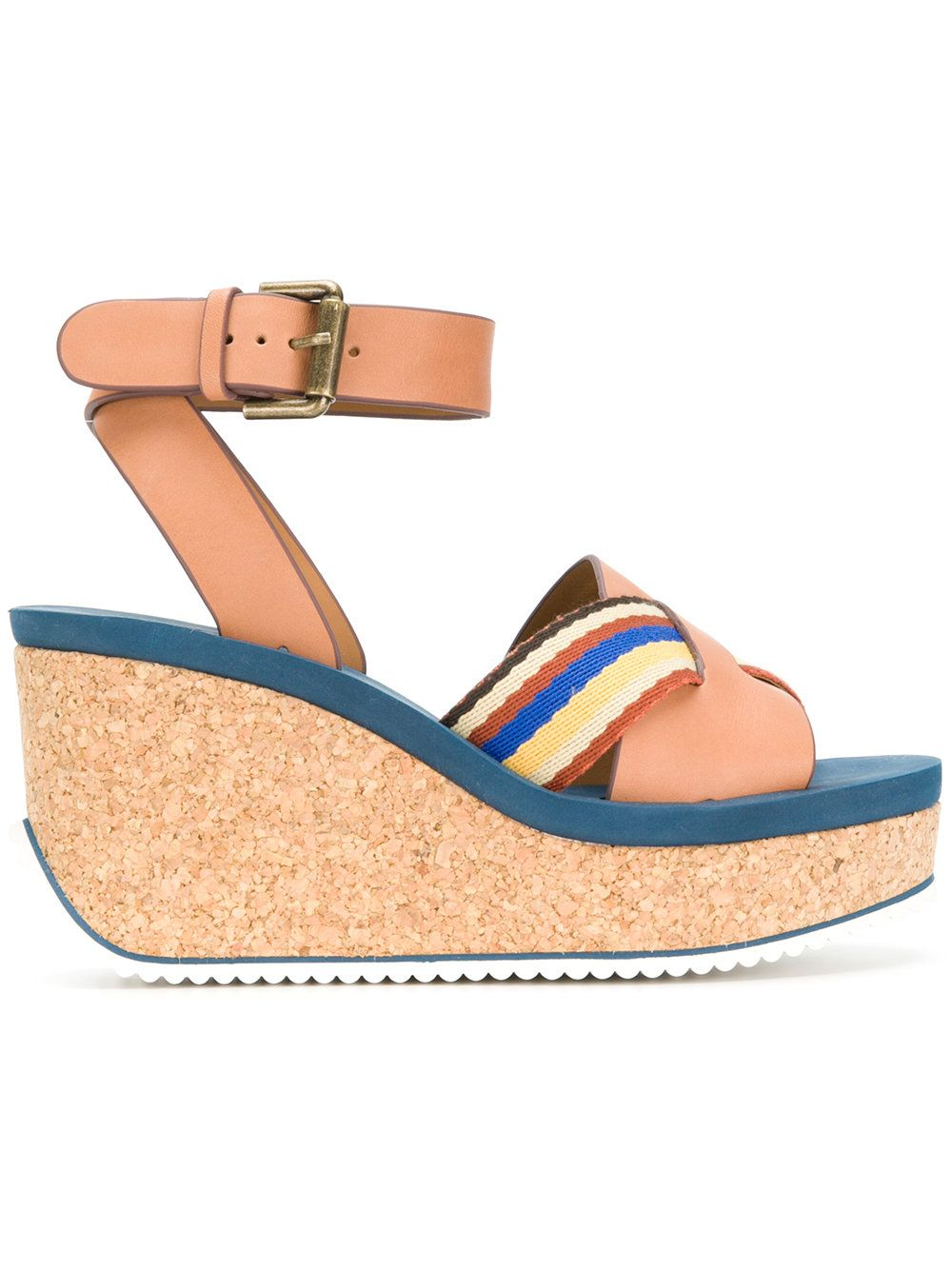 cd7f05fc9b28 See By Chloé striped crossover wedge sandals