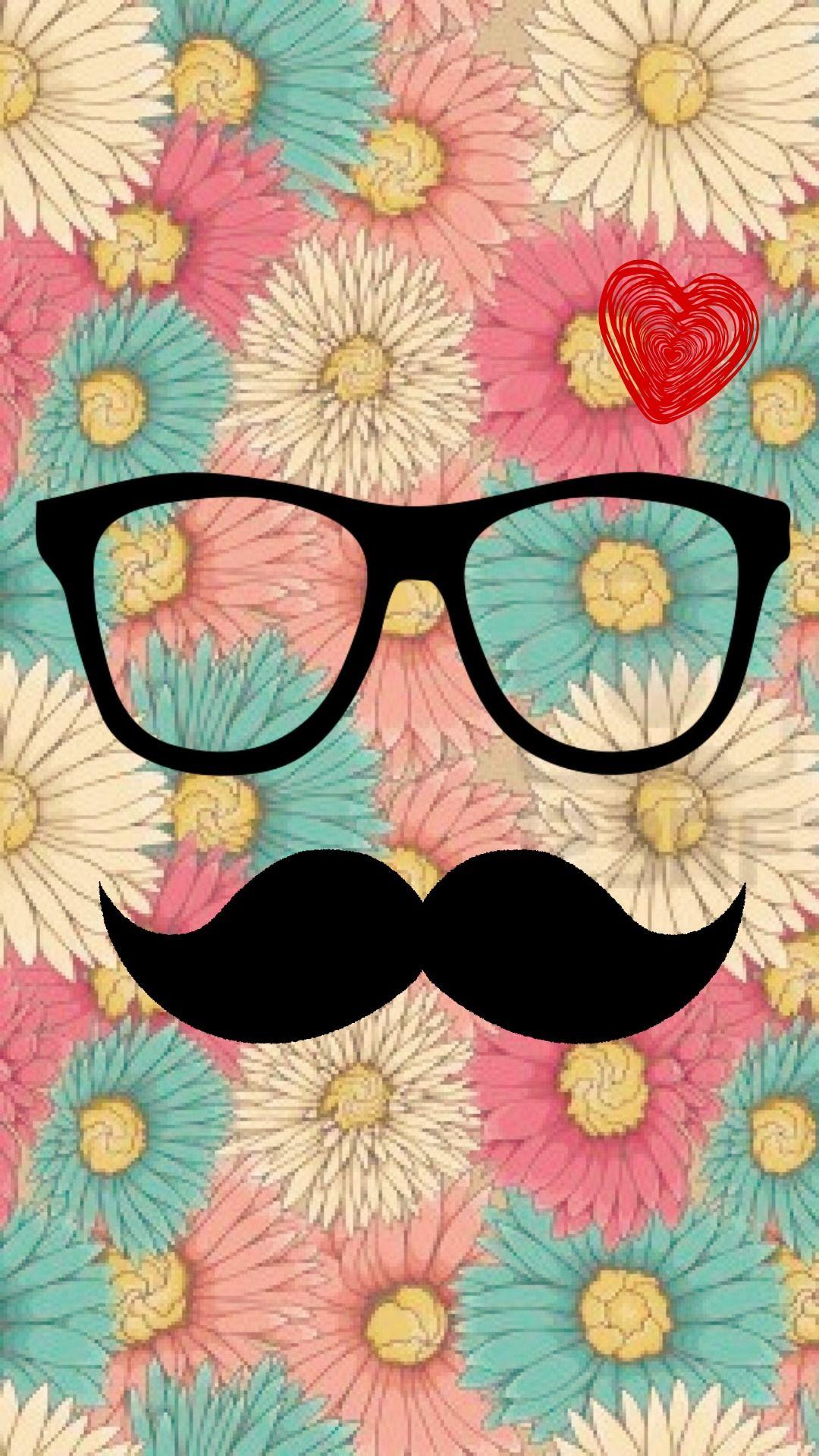 hipster mostacho vintage flower love vintage