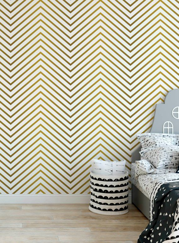 Gold Zigzag Removable Wallpaper Peel And Stick Wall Decor