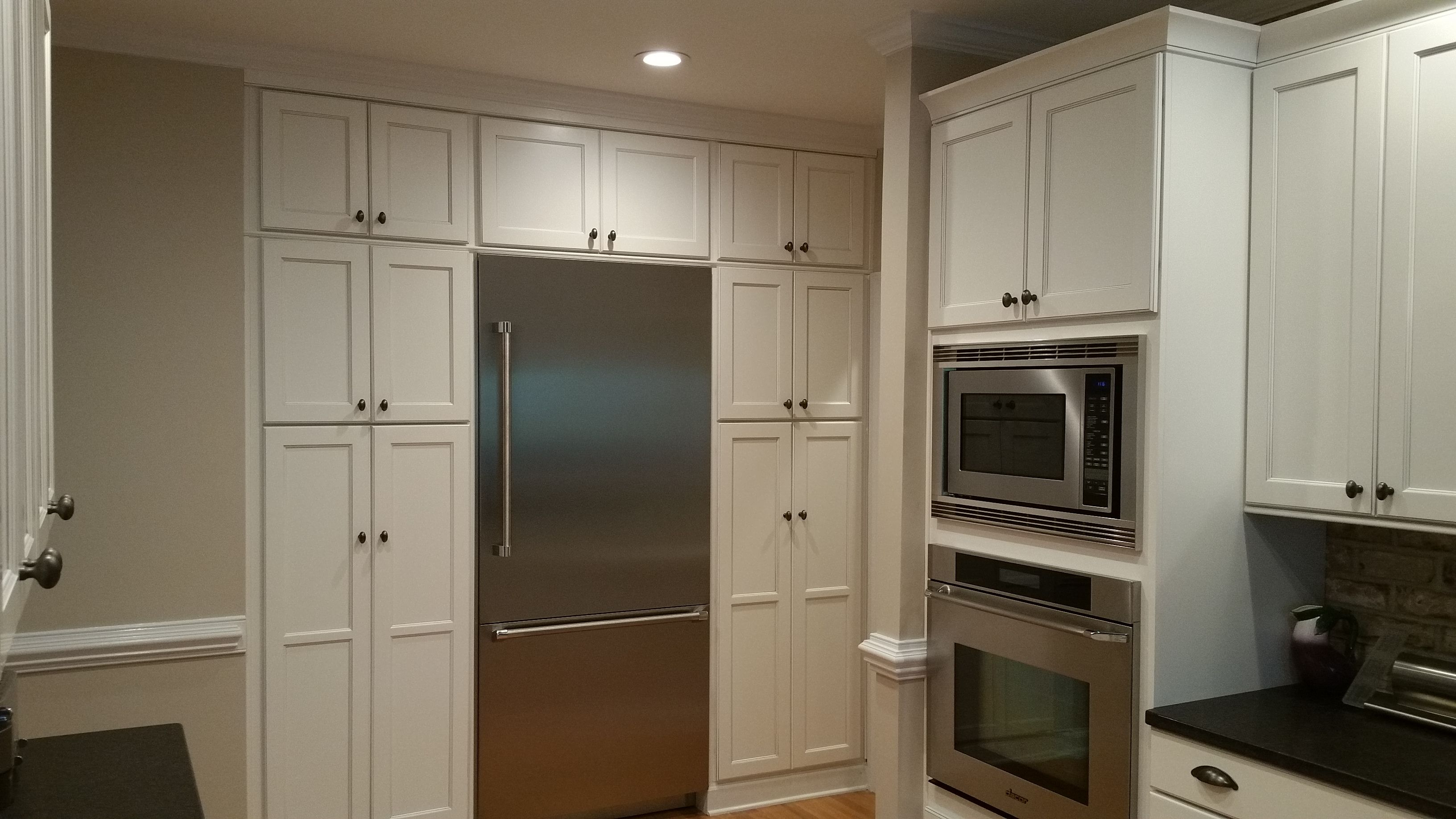 Built In Refrigerator With Custom Cabinets In Kitchen Tingen Remodeling Cary Nc Built In Refrigerator Custom Kitchen Remodel Brick Kitchen