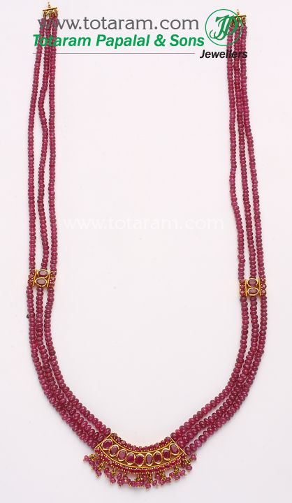 22 Karat Gold Ruby Beads Necklace SouthIndianBeads Pinterest