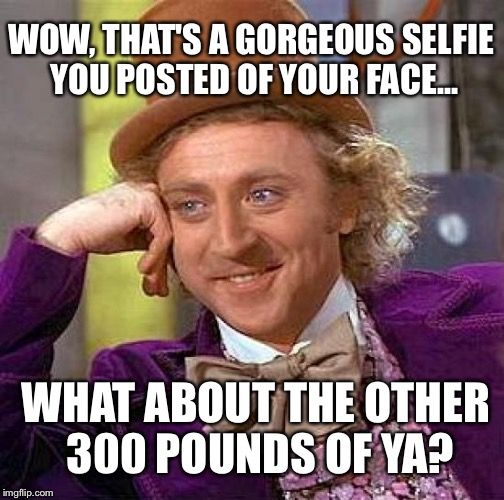 Creepy Condescending Wonka Meme | WOW, THAT'S A GORGEOUS SELFIE YOU POSTED OF YOUR FACE... WHAT ABOUT THE OTHER 300 POUNDS OF YA? | image tagged in memes,creepy condescending wonka | made w/ Imgflip meme maker