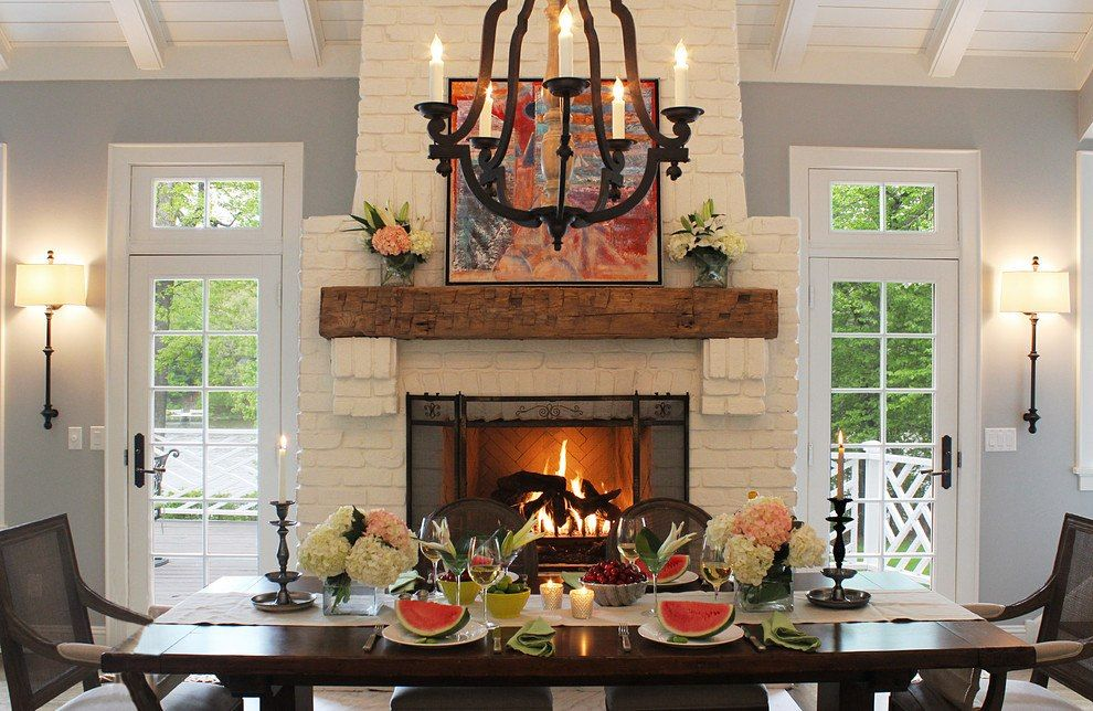 20 Beautiful Dining Room Ideas With Fireplaces Dining Room