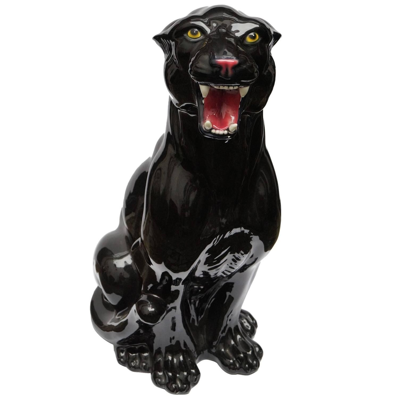 Rare Big Vintage Ceramic Black Panther, Italy, 1960s