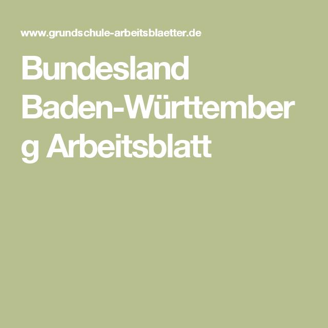 Bundesland Baden-Württemberg Arbeitsblatt | Württemberg und ...
