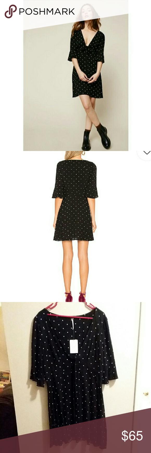 c077d29b2536e Free People NWT Black with White Polka Dot Dress NWT Free People black mini  dress with