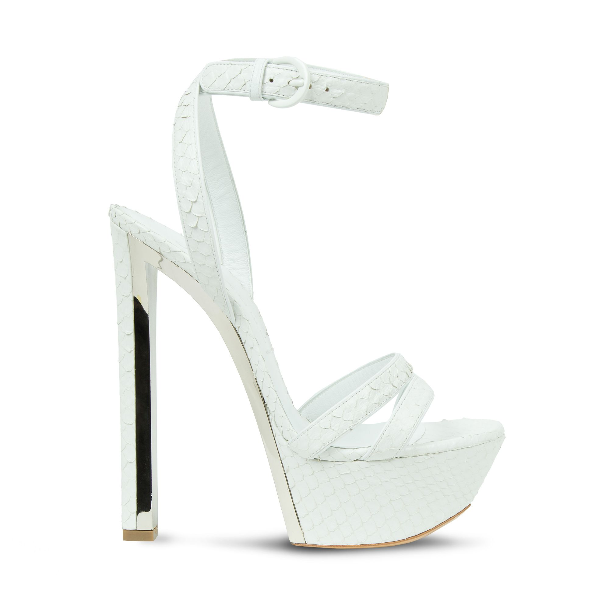 "ARBOK by Casadei - Statement ""Bridge"" platform sandal in white soft ayers with buckle-fastening ankle strap."