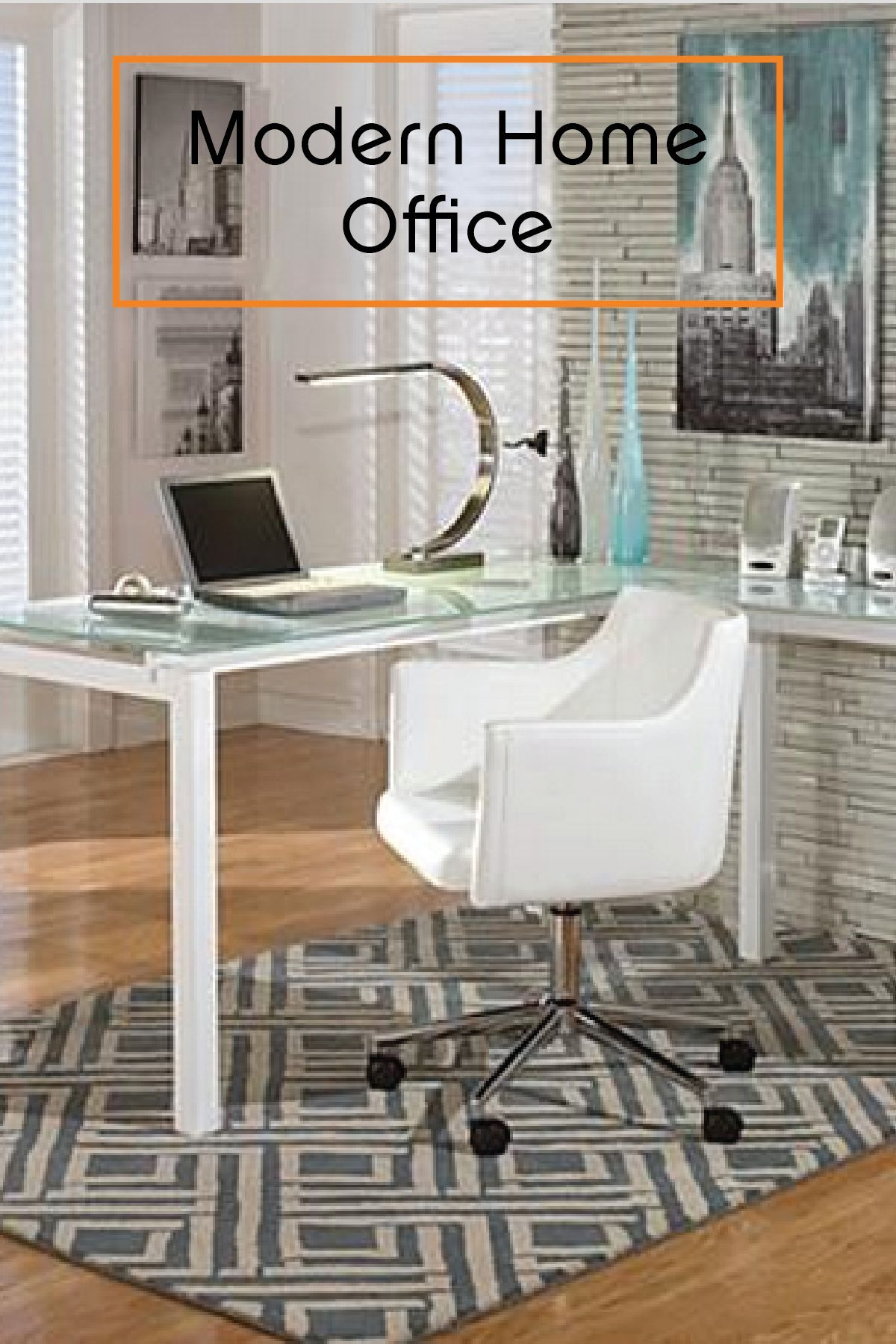 The glass top and metal frame pair wonderfully with abstract art and office chairs to create your dream home office