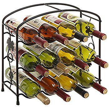 Amazon Com Oenophilia Black Pearl Wine Rack 15 Bottle Kitchen