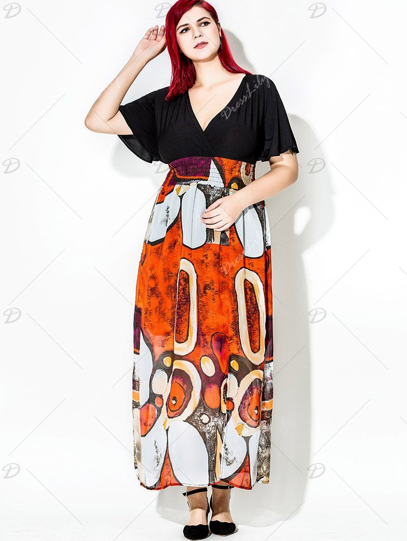 Printed plus size maxi dress with short sleeves maxi dresses