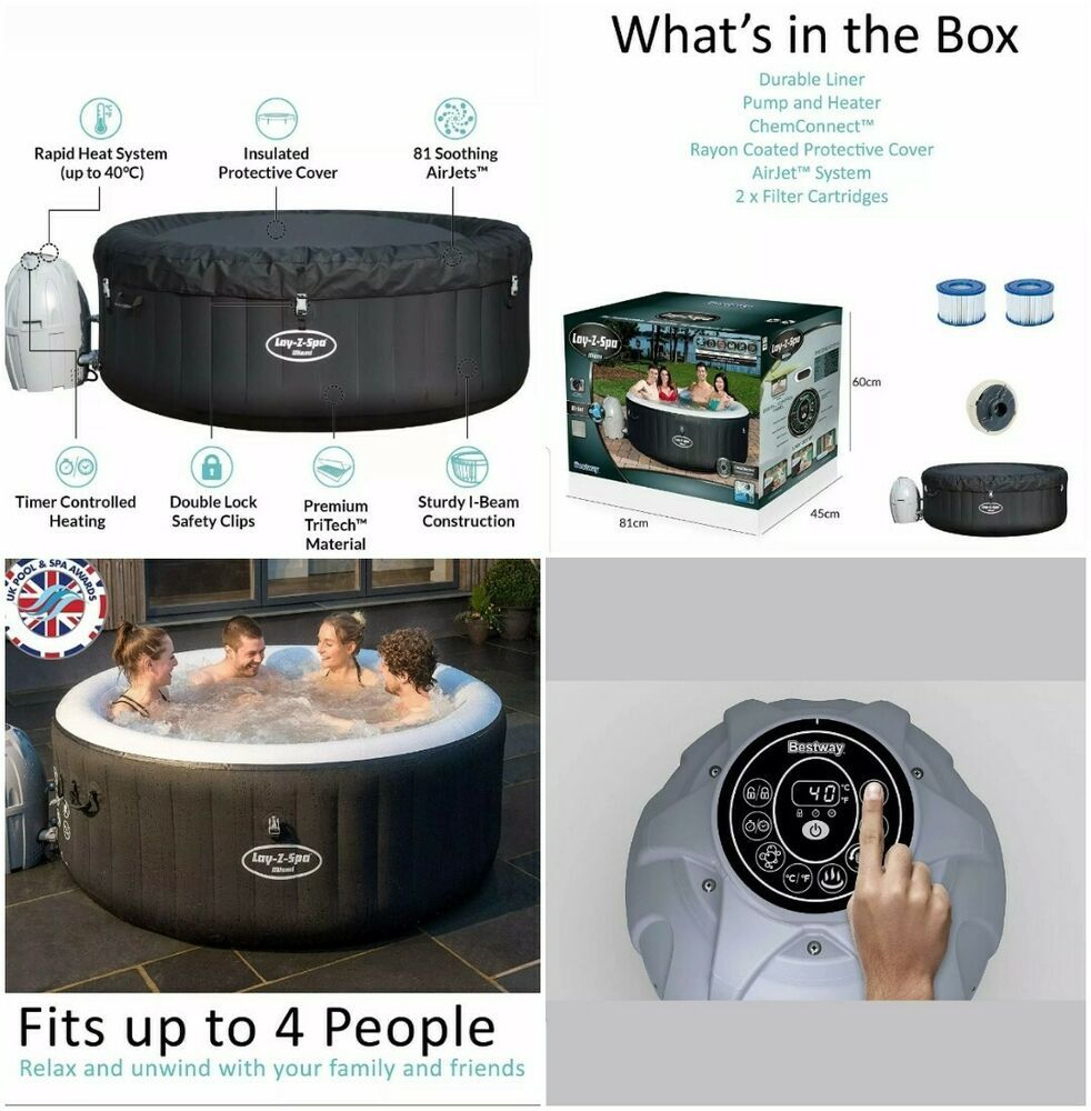 Jacuzzi 6 Places Leroy Merlin luxury lay-z-spa inflatable hot tub (bestway lazy spa miami