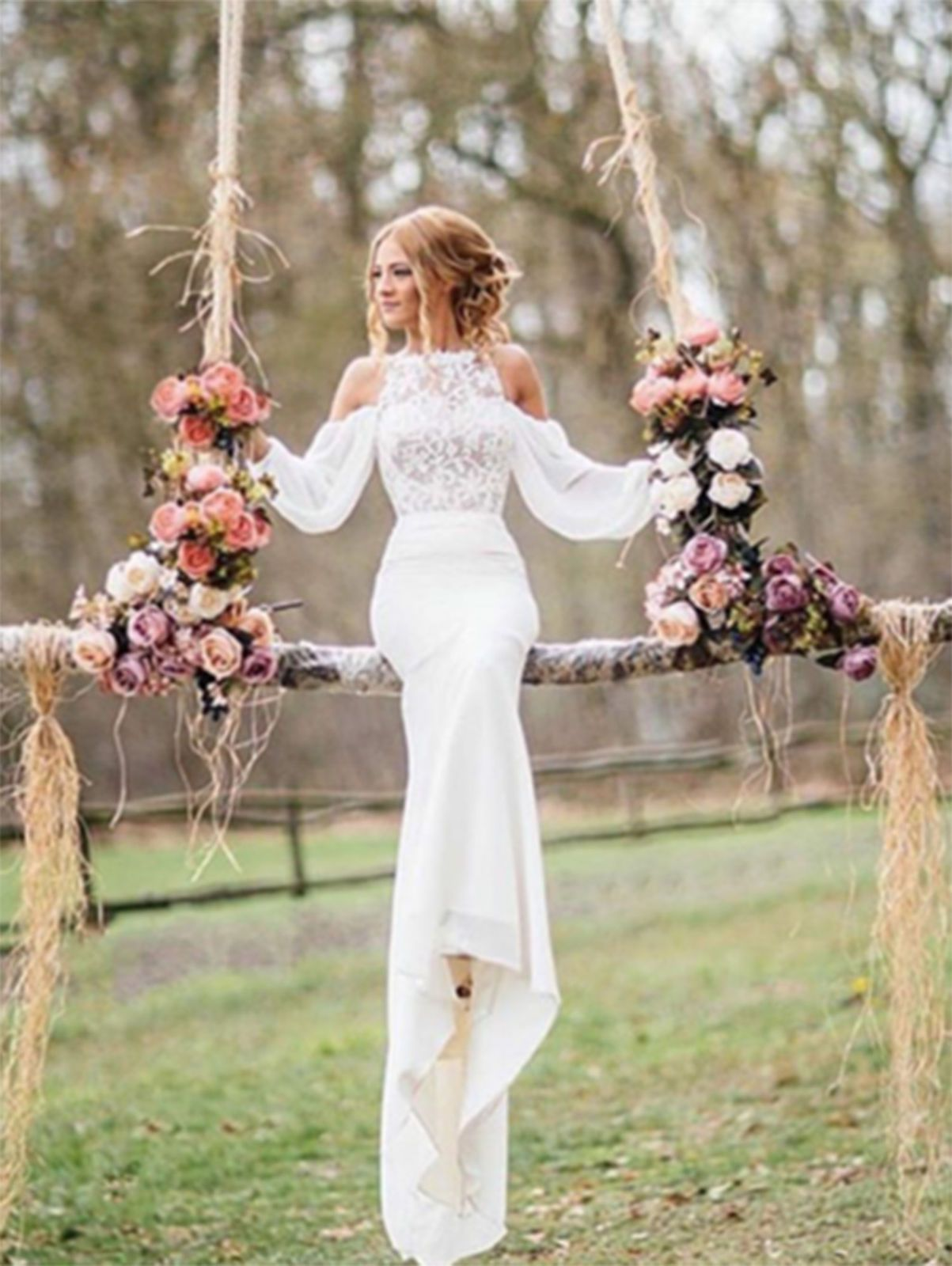 Chiffon long sleeve wedding dress boho bohemian mermaid bridal gown