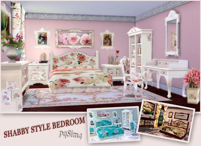sims 4 cc 39 s the best shabby style bedroom by pqsim4. Black Bedroom Furniture Sets. Home Design Ideas