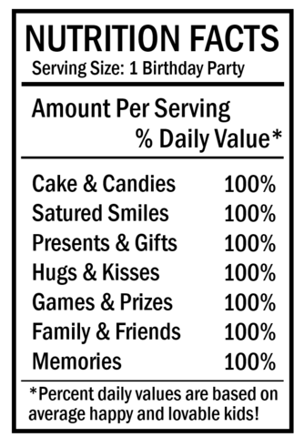 Free Birthday Nutrition Facts Label For Chip Bags Free Birthday Stuff Nutrition Facts Label Nutrition Facts Design