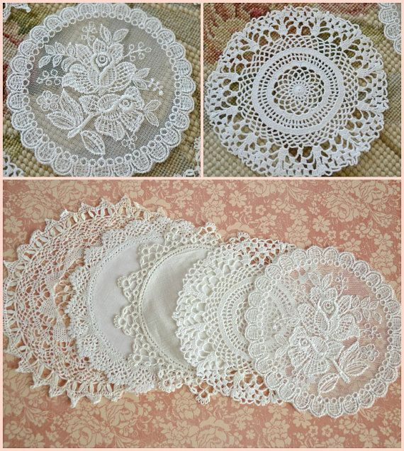 Collection of 5 Small Vintage Lace Doilies by Jenneliserose