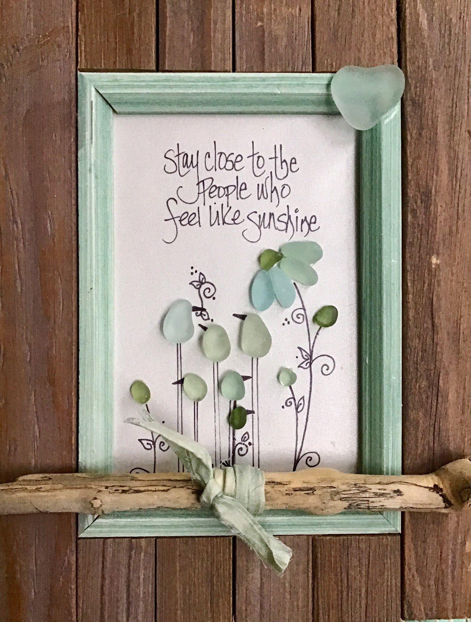 Friends Are the Sunshine of Life Birds Sea Glass Piece