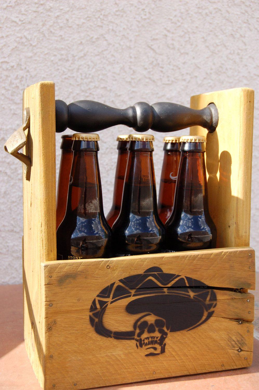 Beer Caddy Six Pack Beer Holder Bottle Carrier Bottle Opener Skull Sombrero 6 Pack Wood Home Brewer Caddy By Wood Beer Holders Beer Caddy Bottle Carrier