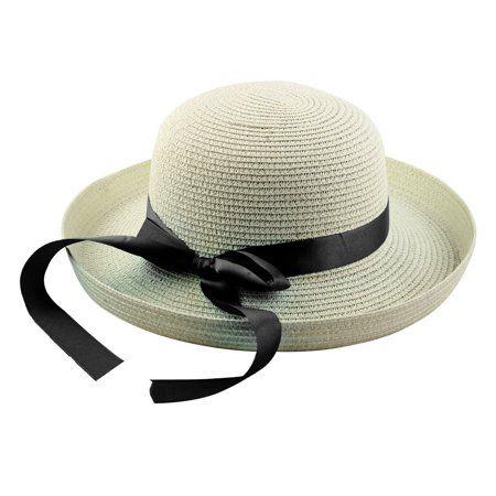51d86dbfb7842 Lady Straw Braid Bowknot Decor Curling Brim Summer Beach Leisure Cap Sun Hat   8 - Walmart.com