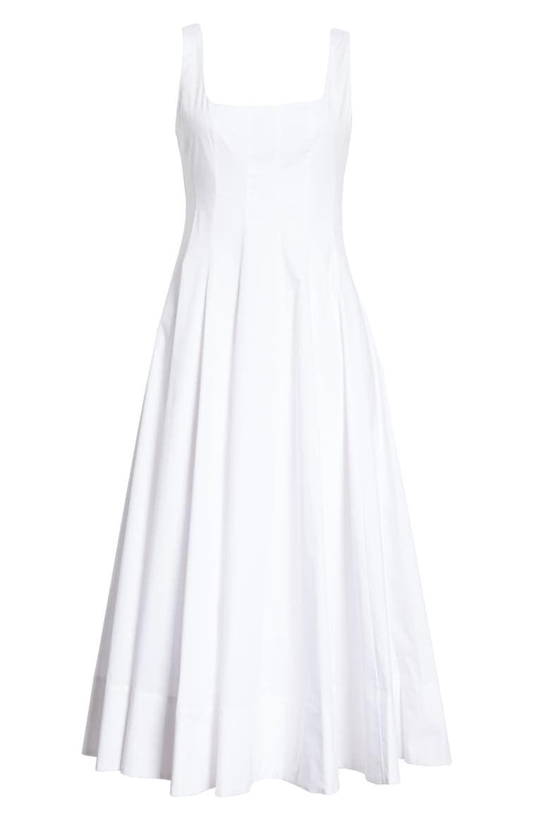 Staud Wells Stretch Cotton Poplin Midi Fit Flare Dress Nordstrom Flare Dress Fit Flare Dress Fit And Flare Dress [ 1164 x 760 Pixel ]