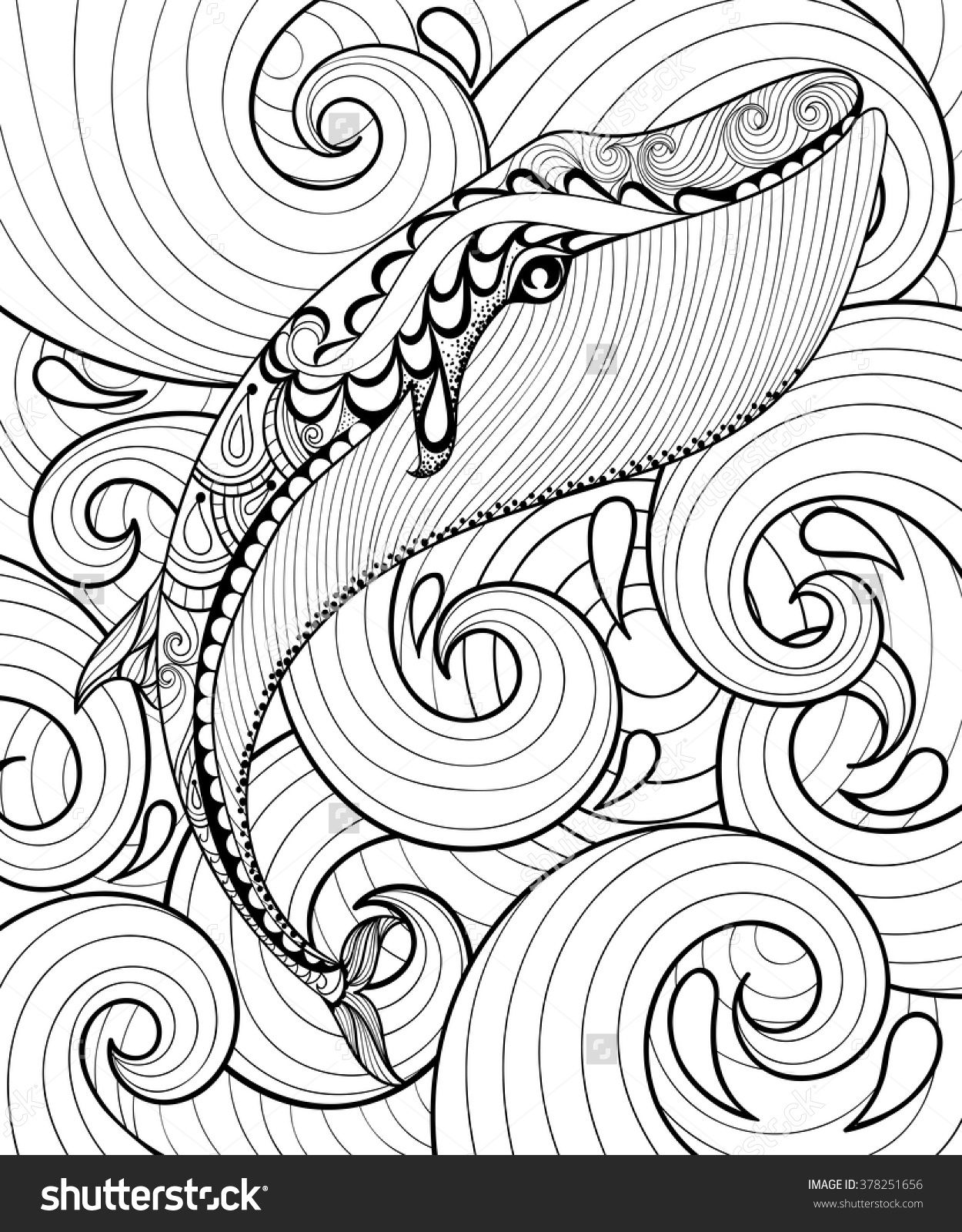 Vector Zentangle Whale In Sea For