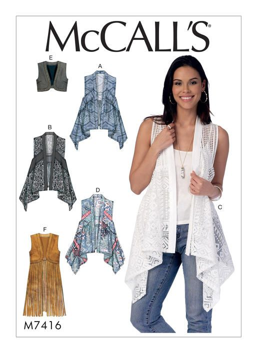 McCall\'s vest sewing pattern with chic details. M7416 | Jacket, Vest ...