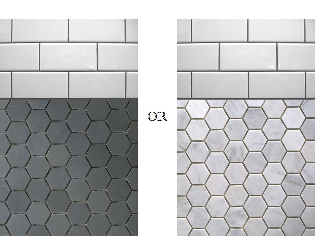 Black and white hexagon bathroom tile hexagon tile for Shower room floor tiles