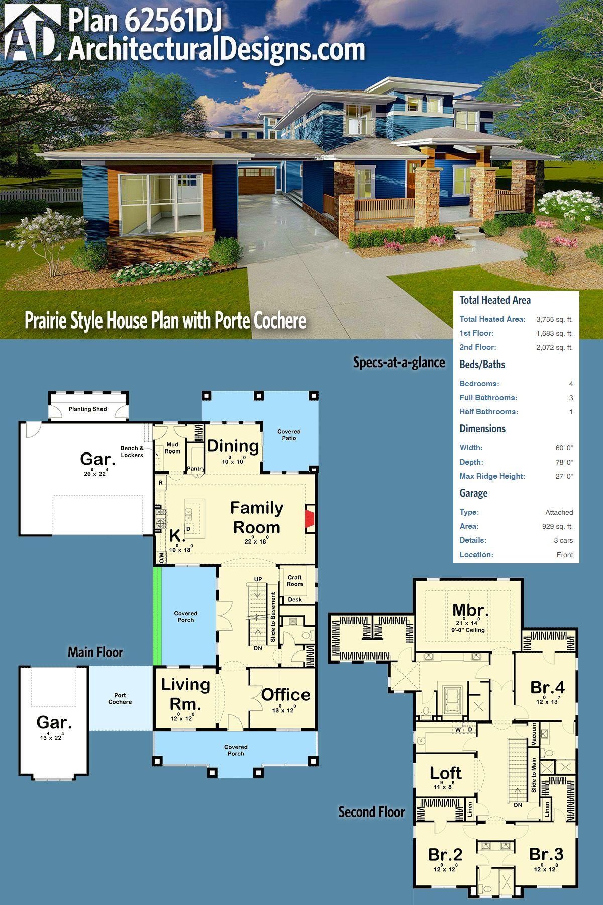 Plan 62561dj Prairie Style House Plan With Porte Cochere Prairie Style Houses House Plans Home Design Floor Plans