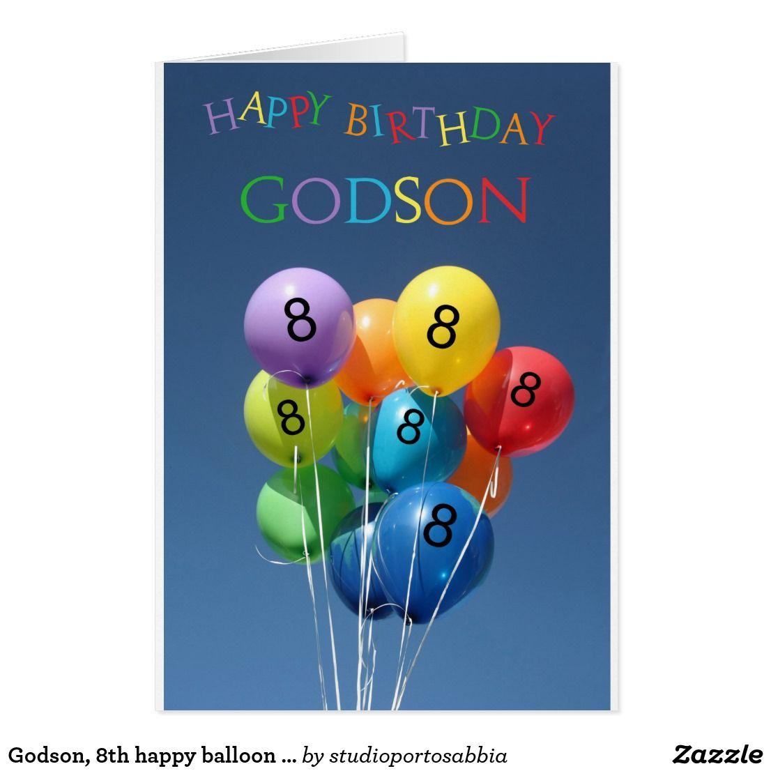 Godson, 8th Happy Balloon Birthday. Card