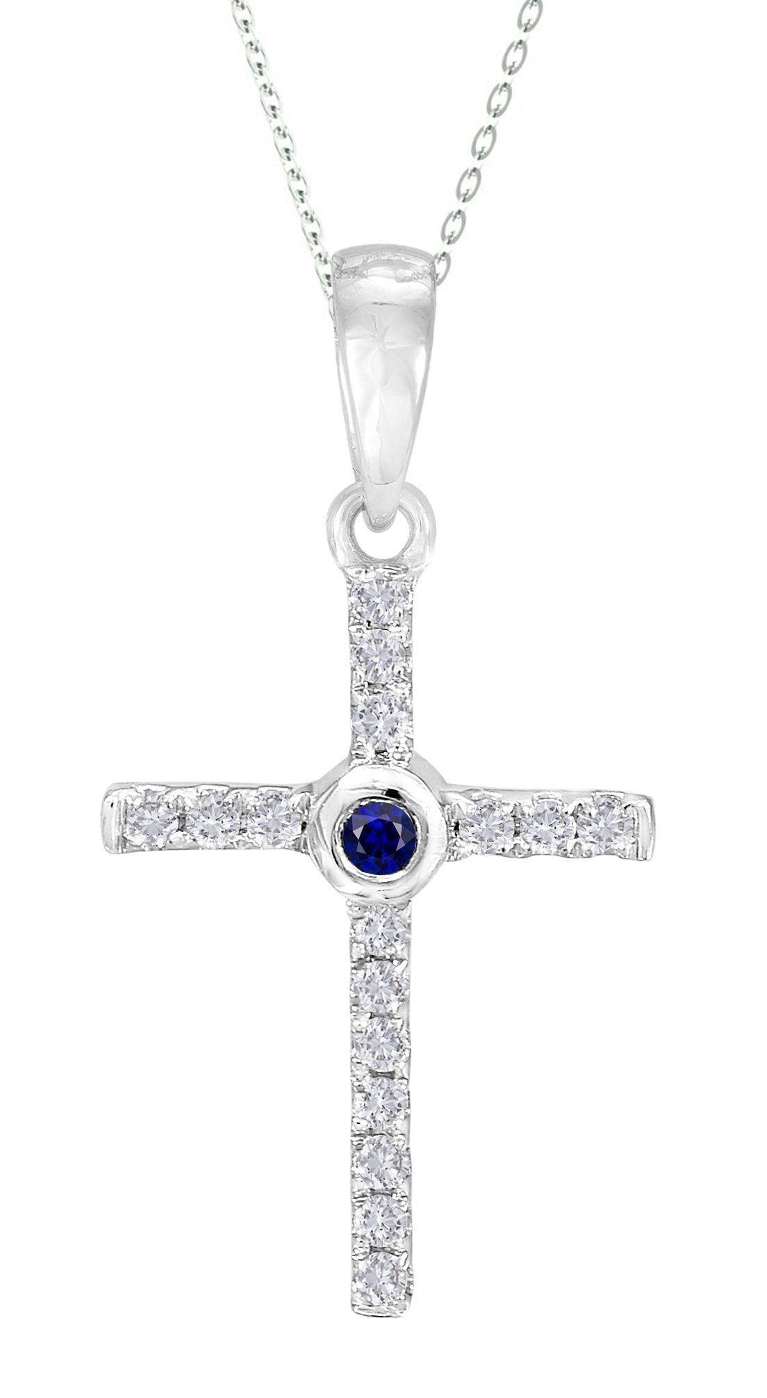 d304b6b3f1631c 14k White Gold Natural Blue Sapphire and Diamond Cross Pendant with Gold  Plated 925 Silver Necklace