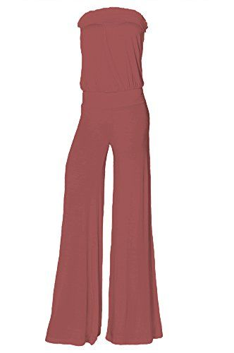 b9c12dc716c3 Womens Fashion Strapless Wide Leg Smocked Tube Jersey One Piece Palazzo Jumpsuit  Comfy USA HN M