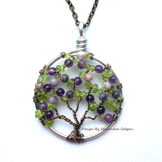 Copyright Home Baby Crafts 2012  The Lilac Wire Tree of Life in Amethyst Charoite by HomeBabyCrafts, $34.00