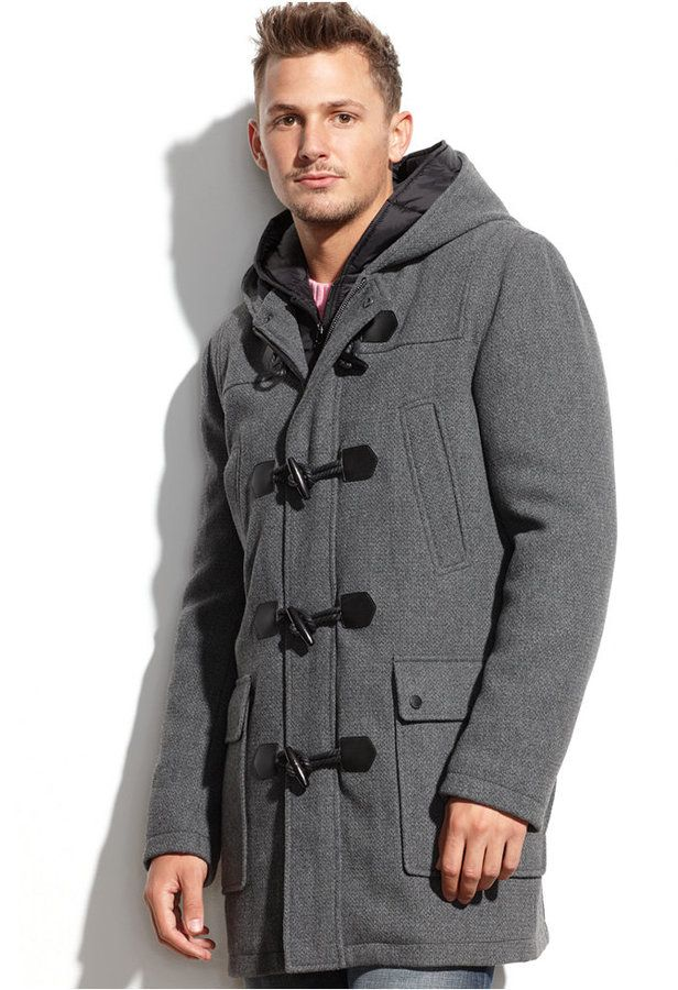 Wool Blend Hooded Nylon Bib Toggle Coat | Man shop, Mens winter ...