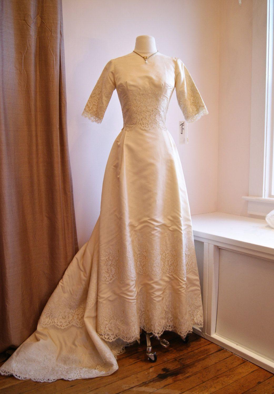 60s Wedding Dress Quarter length sleeve wedding dress