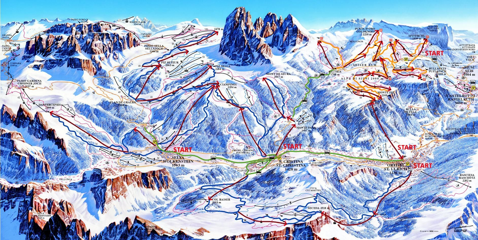 Map Of Dolomiti Superski Snowboarding Trip Ski Resort Skiing