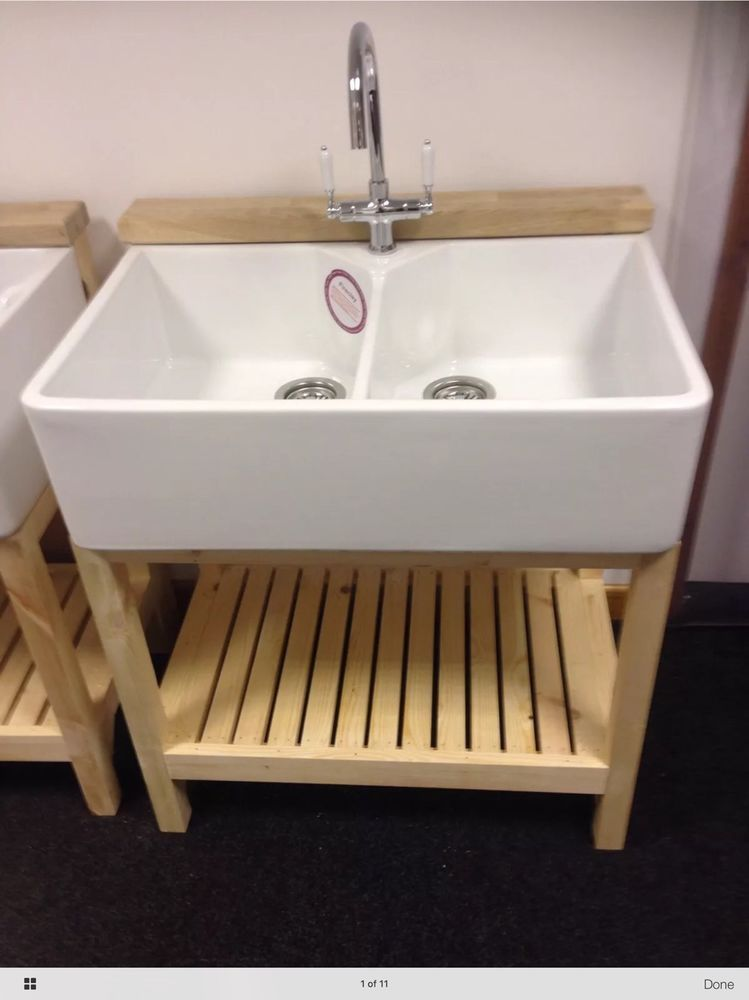 163 500 80cmcomplete Set Wooden Stand Double Belfast Sink