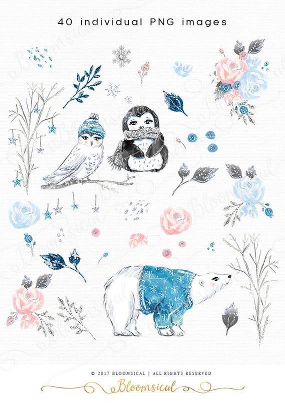 Winter Clip Art Enchanted Animals Bear Penguin Owl Flowers