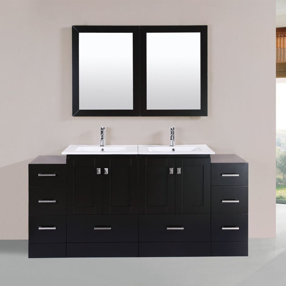 Best Kitchen Gallery: Redondo 72 Double Modern Bathroom 2 Side Cabi S Vanity Set With of Bathroom Cabinets Product on rachelxblog.com