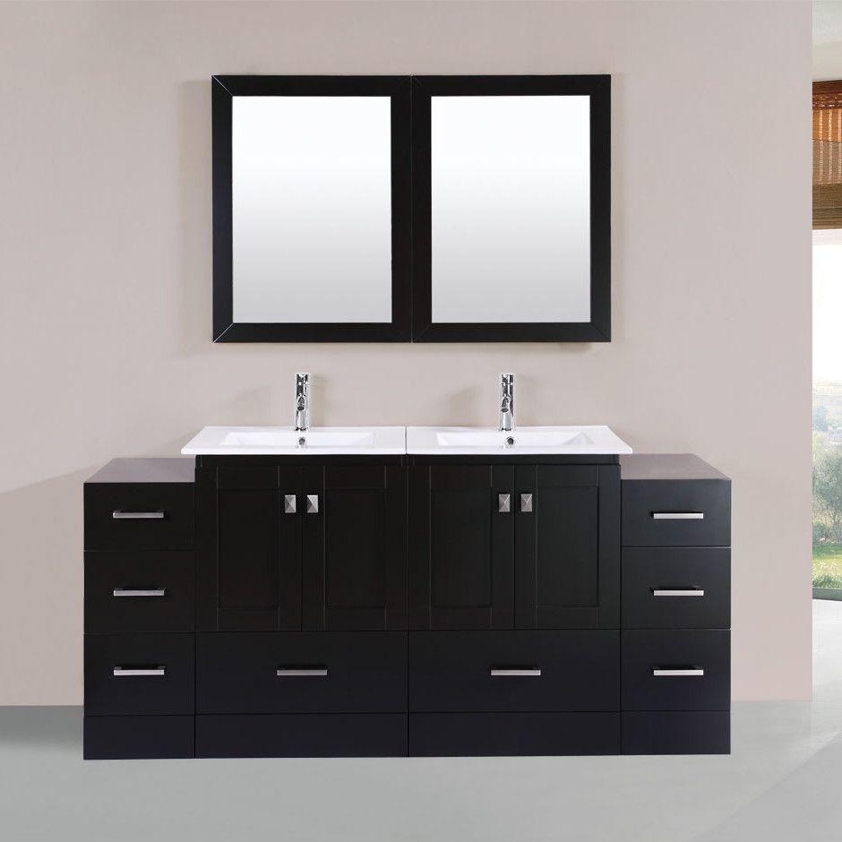 Best Kitchen Gallery: Redondo 72 Double Modern Bathroom 2 Side Cabi S Vanity Set With of Bathroom Cabinets Product on rachelxblog.com