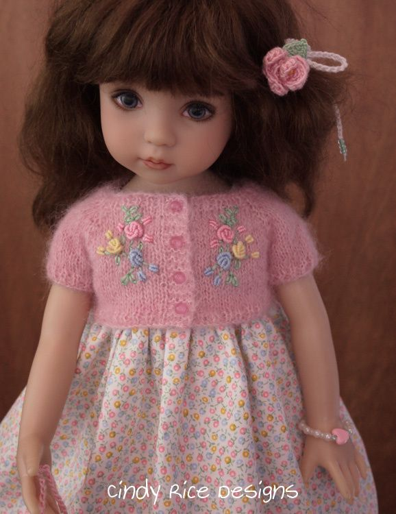Pretty in Pastels, a hand knit and embroidered mohair cardigan sweater and dress ensemble made for Dianna Effner's Little Darling dolls, cindyricedesigns.com . #littledolls