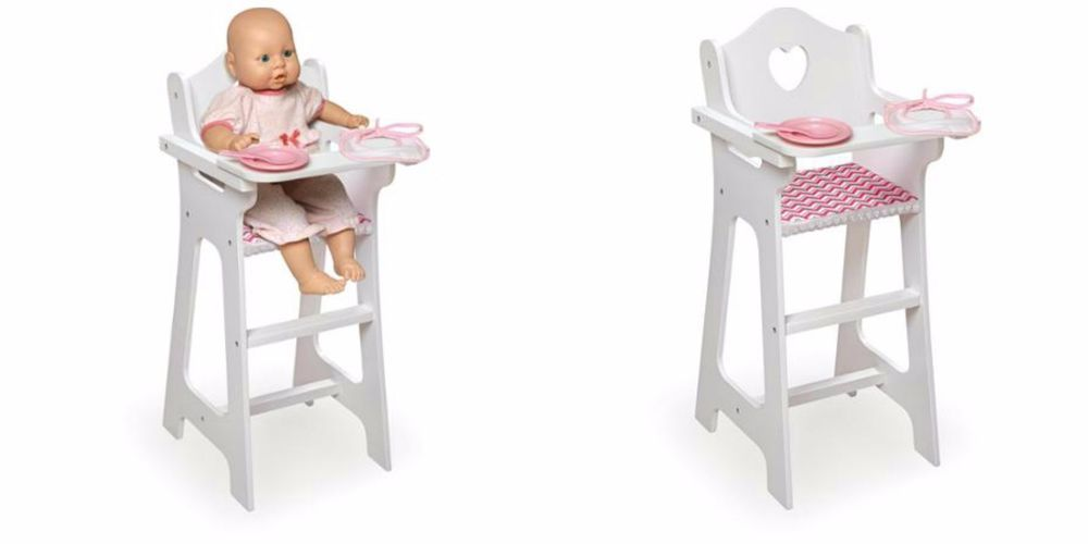 Delightful Badger Basket Doll High Chair With Plate Bib And Spoon   Chevron Print Toy  Girl