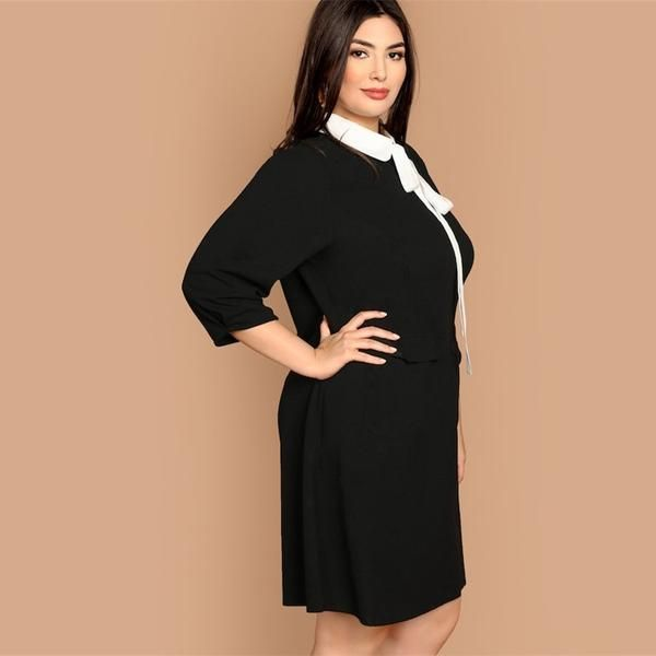 f250ea6aca4 SHEIN Plus Size Tie Neck Peter Pan Collar Preppy Style Women Black Straight Dress  2019 Spring Three Quarter Sleeve Dresses