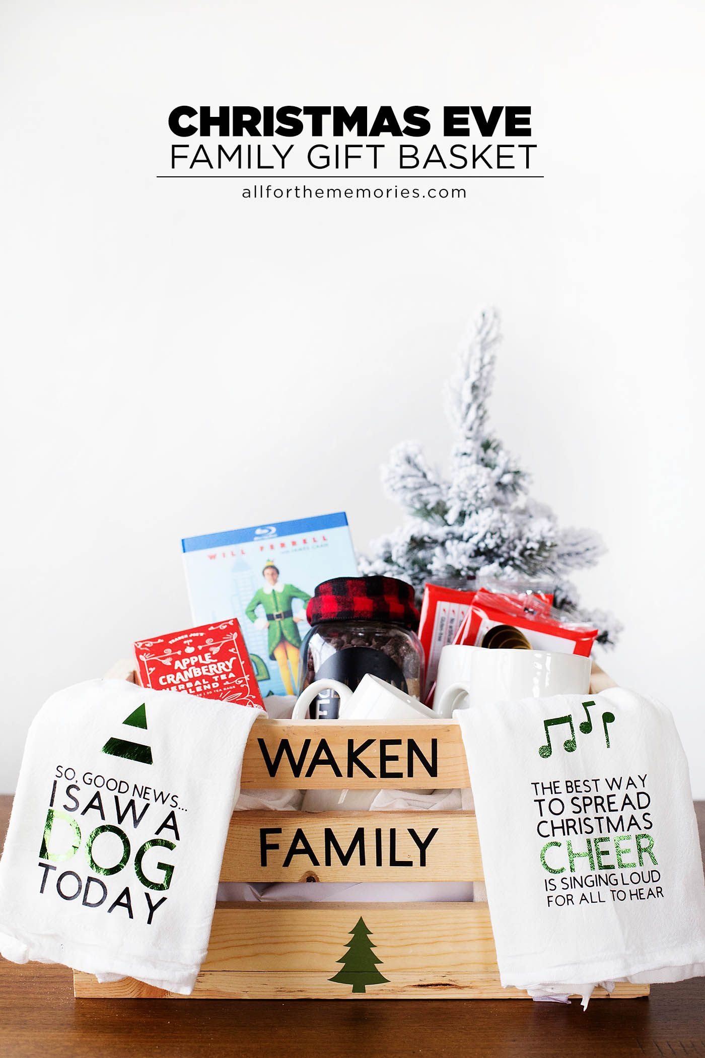 DIY Family Christmas Eve gift basket complete with ELF movie quotes ...