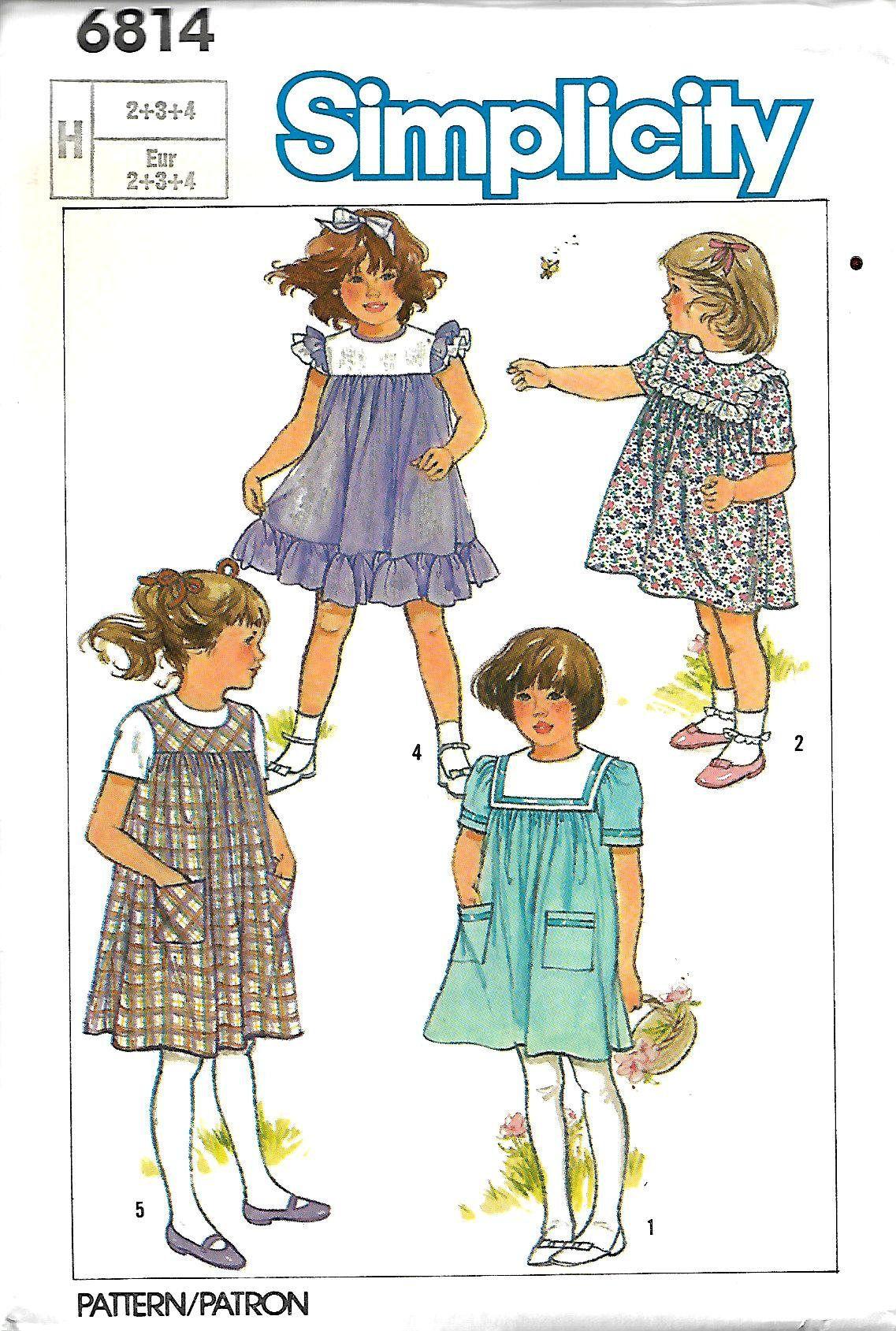Simplicity 6814 little girls dress or pinafore sewing pattern momspatterns vintage sewing patterns simplicity 7062 vintage sewing pattern precious baby little girls high yoked flared smock top blouse dress jeuxipadfo Choice Image