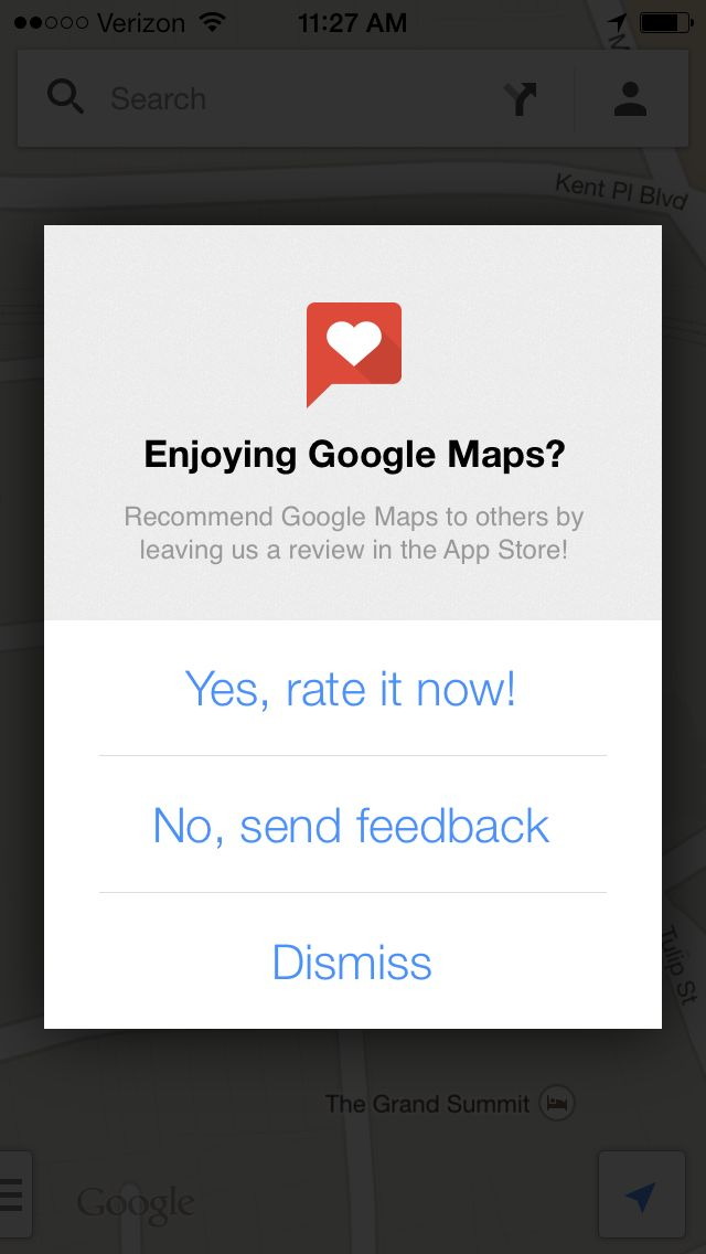 Google maps asks to rate app feedback App, Google rate